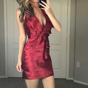 Bebe Red V Neck Silky Layered Dress Size Medium